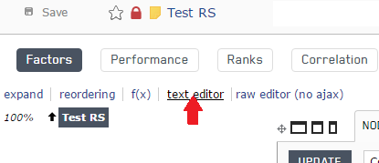 Open the text editor for the new stock ranking system