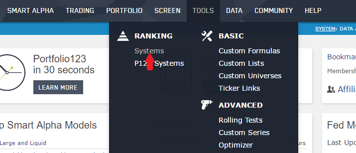 Selecting an ETF ranking system from the main Portfolio123 menu