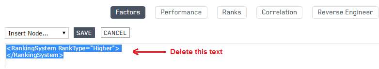 Delete the existing text in the text box for the new ranking system in Portfolio123