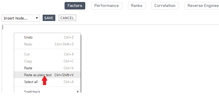 Paste the clipboard into the ranking system text box in Portfolio123