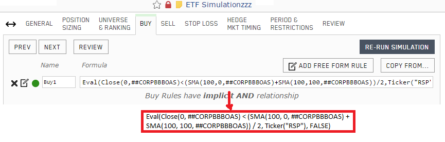 Simulation Buy rule