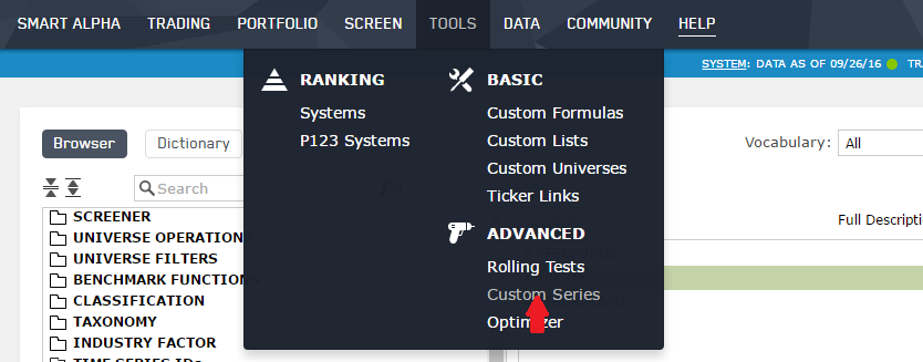 Selecting Custom Series from TOOLS pull-down menu