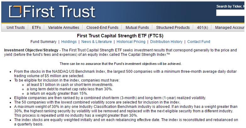 Screenshot of First Trust Capital Strength ETF (Symbol: FTCS) fund summary