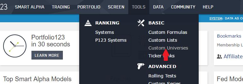 Selecting a custom universe from the Portfolio123 DATA drop-down menu