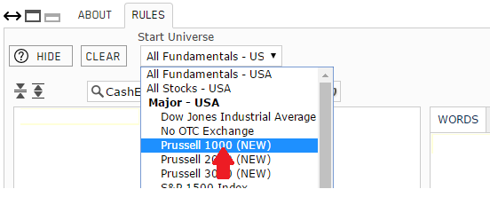 Selecting Russell1000 as the starting stock universe