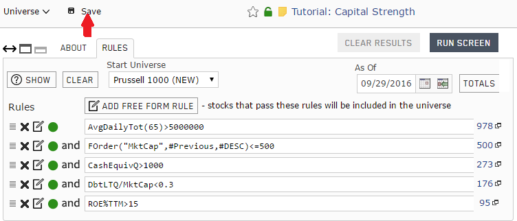 Screenshot of the completed custom stock universe for the capital strength stock portfolio