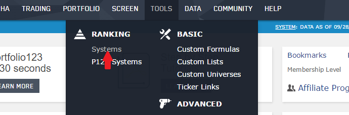 Selecting ranking systems from the TOOLS pull-down menu