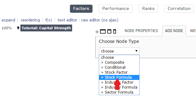Selecting a new Stock Formula node to be added