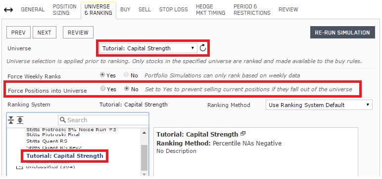 Capital strength simulation: Universe and ranking system selection