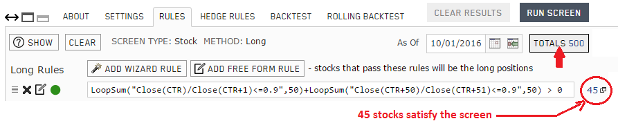Screen rule for detecting one day price drop of 10% or more within the last 100 trading days
