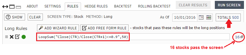 Screen rule for detecting one day price drop of 10% or more within the last 50 trading days