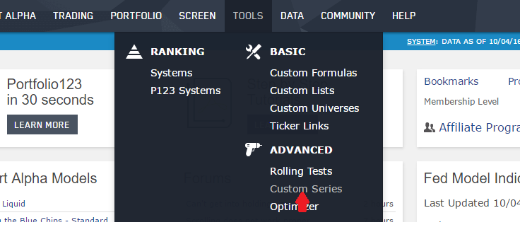 Selecting Custom Series from the TOOLS drop-down menu