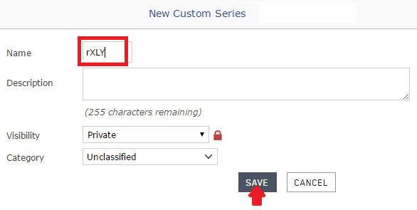 Naming the Custom Series during the Save As process