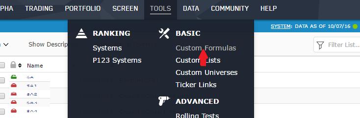 Select Custom Formulas from the main Portfolio123 menu