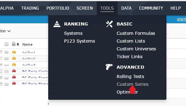Selecting Custom Series from the main Portfolio123 menu