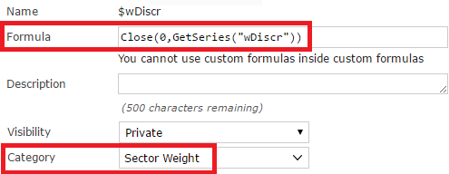 Custom formula for selecting the Discretionary sector weight