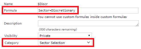 Custom formula for selecting the Discretionary sector