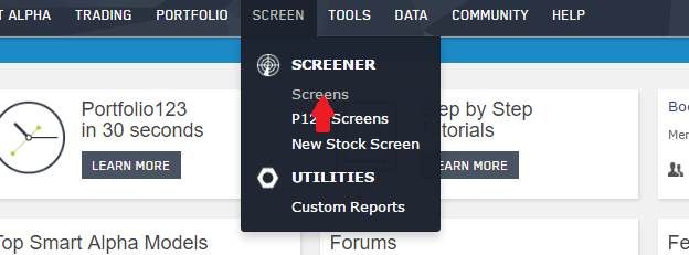 Selection of Screens from the Portfolio123 SCREEN pull-down menu
