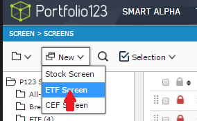 Selection of New -> ETF Screen