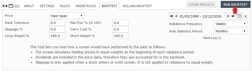 Screenshot of Portfolio123 screen backtest setup