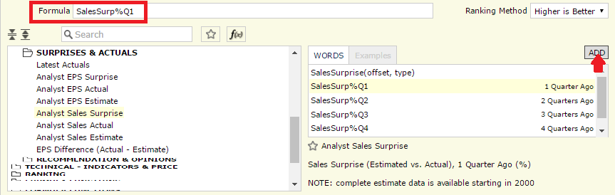 Screenshot of Quick Rank formula selection: SalesSurp%Q1