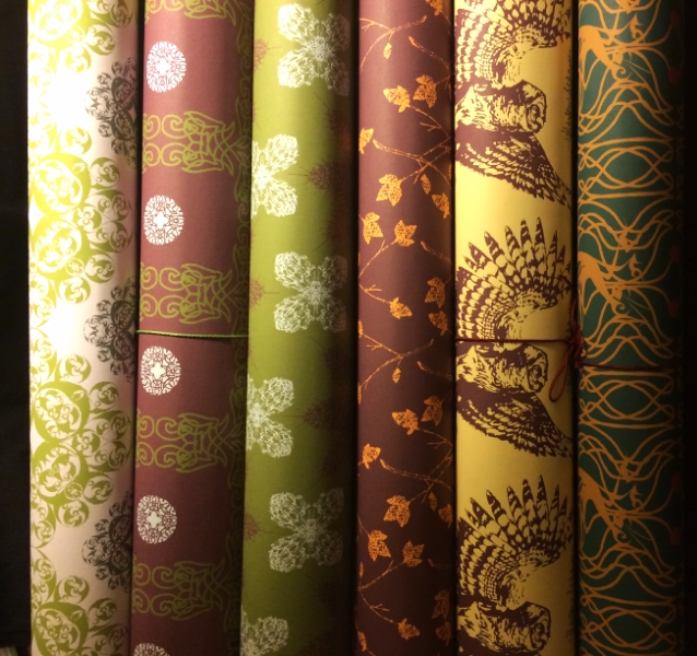 Wrapping/ Art Papers made from my CAD generated (but hand-drawn images) textile designs. Each paper roll is 24''x36'' and are available for purchase through my Store. Currently not all the designs are uploaded, but after watermarking I will be posting a variety of designs under their own gallery heading. If you would like to purchase paper, please contact me to receive hi-def images of any design, designs not shown here, and myriad colorways for each design. Copyright Cei A Lambert 2013.