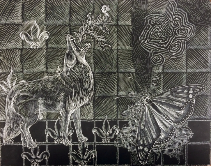 "Illustration on 9''x12'' Scratchboard. Part of a larger multi-media piece entitled ""Theme and Variation"" now on display in the Glass Box Gallery at Colorado State University. Full project and gallery images to come soon! Copyright Cei A Lambert 2014"