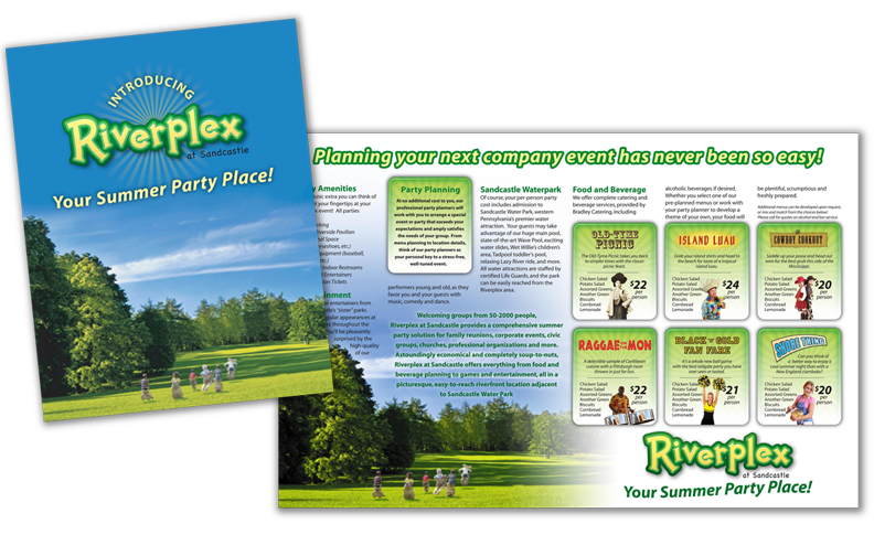 Brochure for Riverplex showing venue capabilities and choices for catered picnic themes.