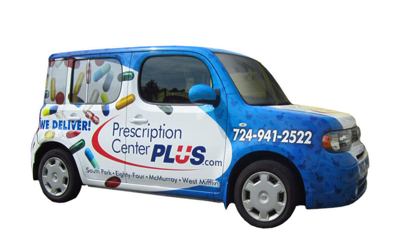 Vehicle wrap for Prescription Center Plus.