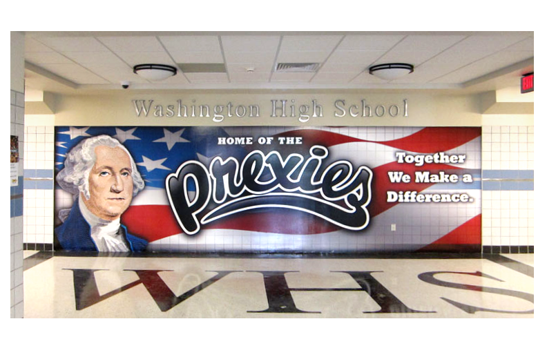 Large format vinyl wall graphics for entranceway to Washington High School.