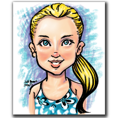 Basic color caricature portrait by Jeffrey D. Harris.