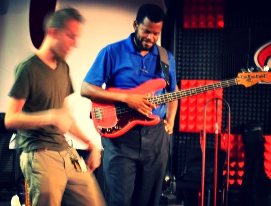 Bassist Keith Russell is the first to try Miles' loop pedal