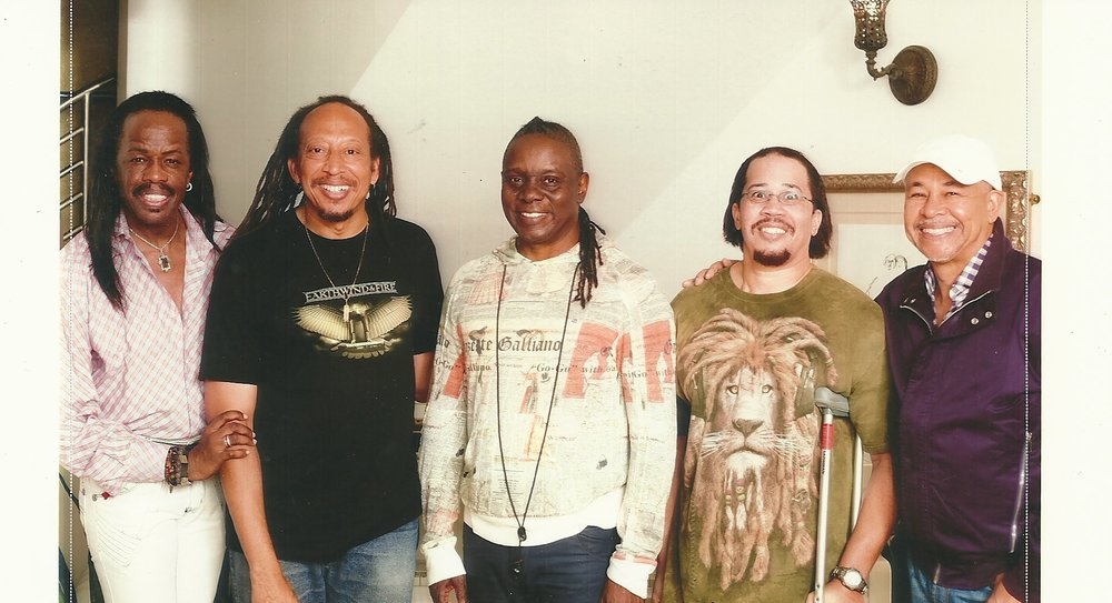 My brother, Kerry (second from the right), and me along with the Elements: Verdine White, Philip Bailey and Ralph Johnson