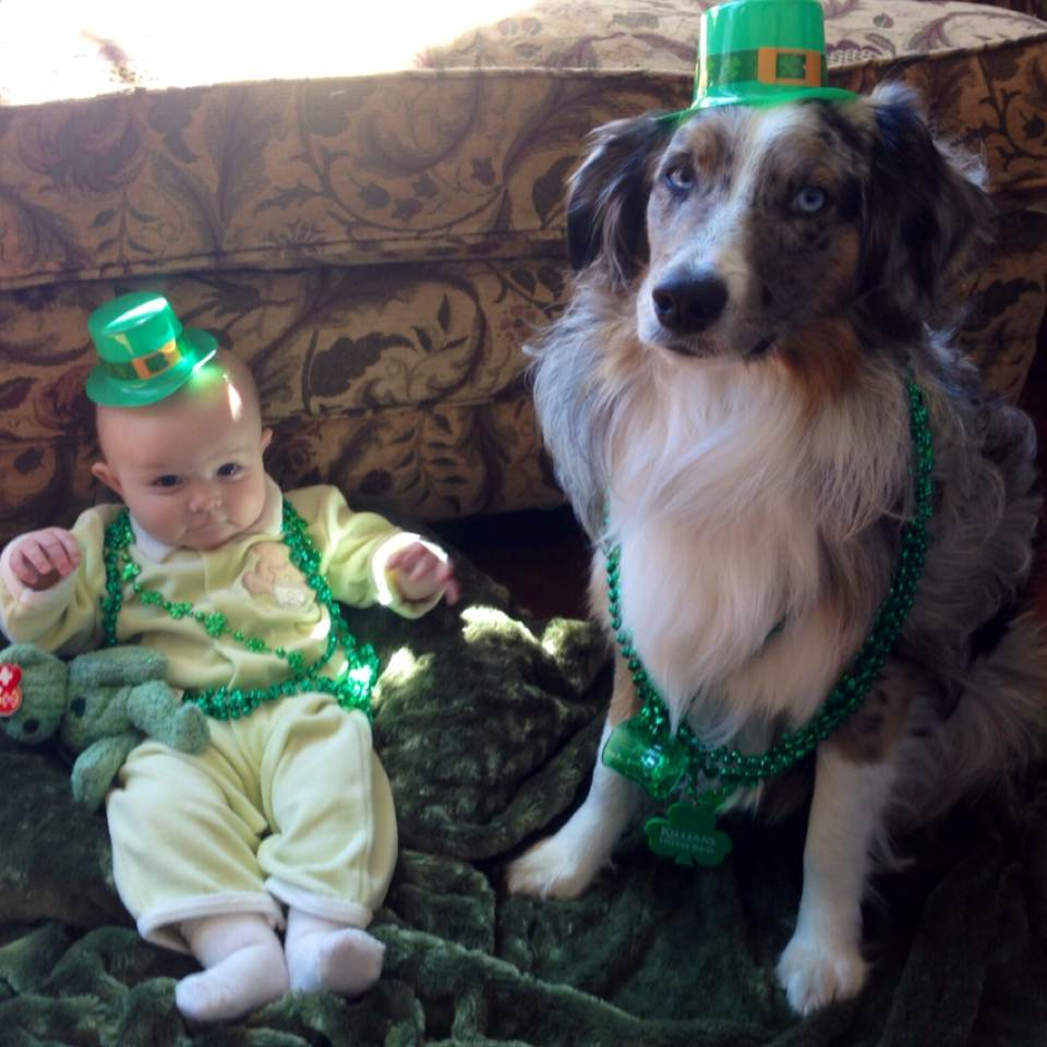 Brett's adorable baby has a trusty St. Patrick's Day sidekick (and a matching beanie baby!).