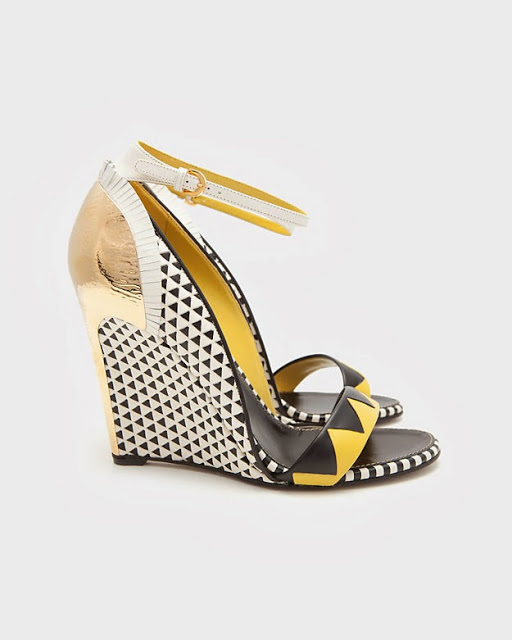 Sergio Rossi - Clash Tri-Colour Wedge Sandal $1,265