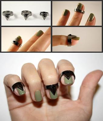 gunmetal nail rings, new trend nail rings, nail tip rings, nail rings with stones