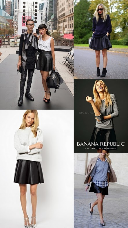 black leather skirt with grey sweater, short leather skirt with t-shirt, ways to wear a leather skirt, what to wear with a leather skirt