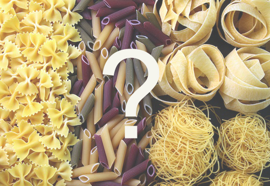 choosing the right pasta noodle, how to pair pasta noodles with sauce, names of pasta noodles