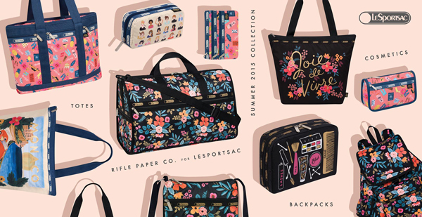 Rifle Paper Co, Lesportsac, Lesportsac collaborations, le sport sac and rifle paper, stationary collaborations, new york lesportsac, unique makeup case, unique tote bag, lesportsac travel bag