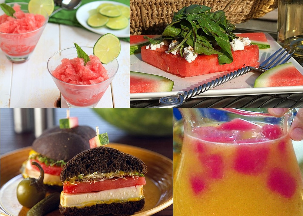summer watermelon recipes, best watermelon recipes, watermelon ice cubes, watermelon sandwiches, watermelon and goat cheese salad, watermelon granita recipe