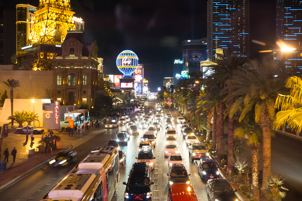 The strip at night.