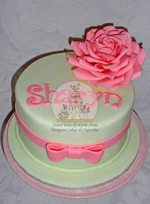 Pink Rose and Bow Cake