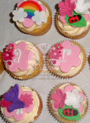 Butterfly, Ladybug, Rainbow and Letter Cupcakes
