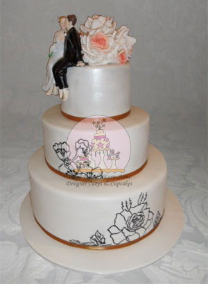 Handpainted Rose Wedding Cake
