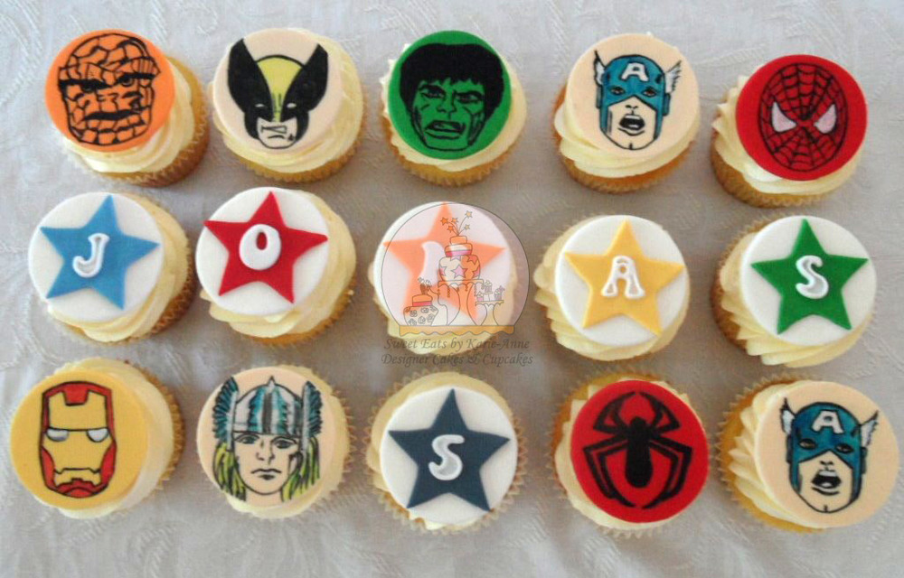 Retro Superhero Cupcakes