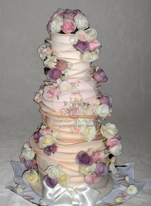 Sally & Sean Ruffled Wedding Cake with Fresh Roses