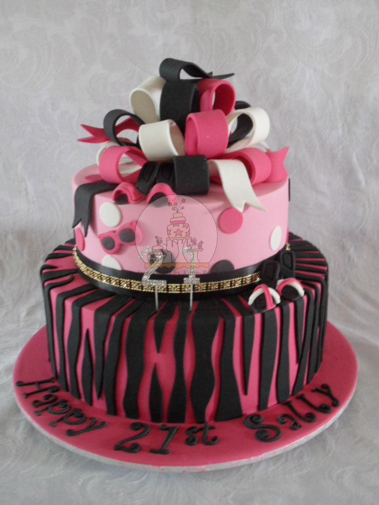 Hot Pink Zebra Print Loopy Bow Cake