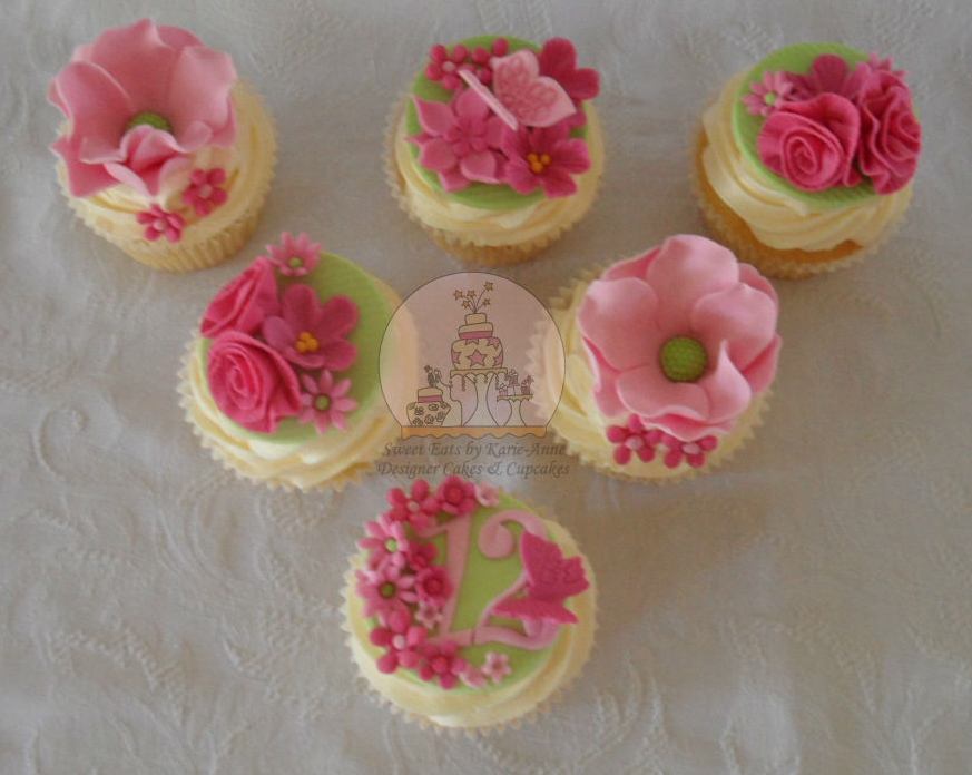 Pink & Green Floral Cupcakes