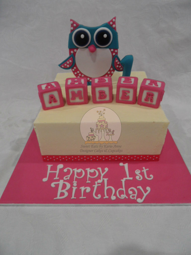 Toy Owl Figurine 1st Birthday Cake