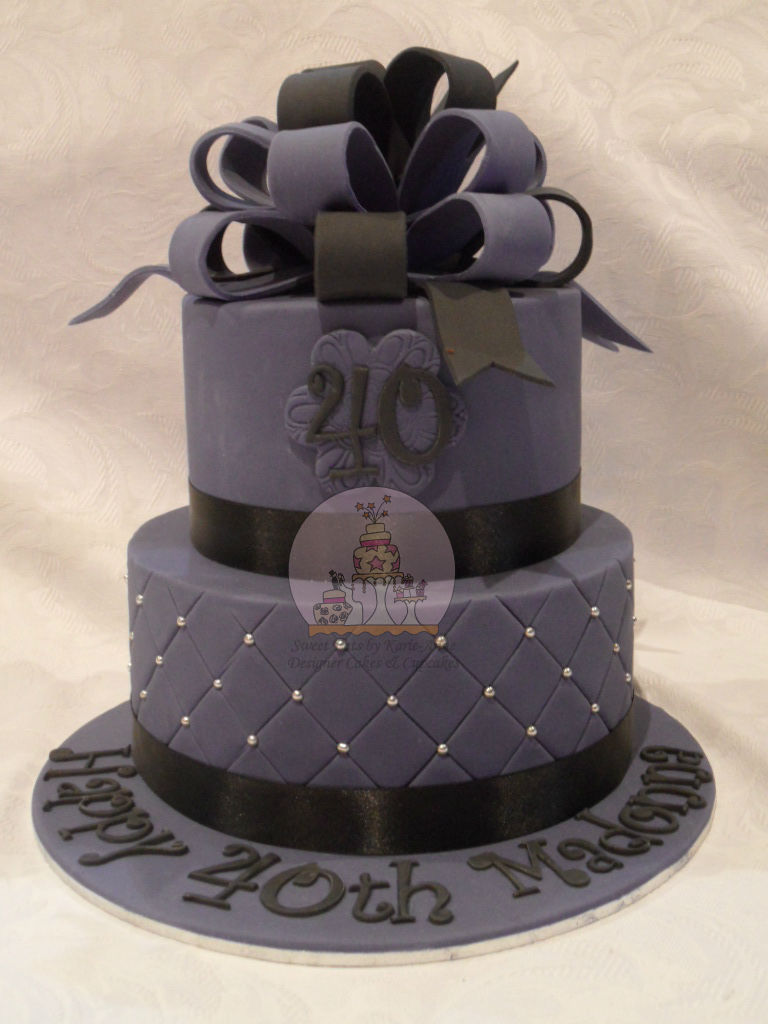 Purple & Black Loopy Bow 40th Birthday Cake